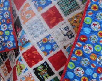 SALE!....Just Marked Down!.....Robots, Spaceships and Spiro Blasters....A Fray Edge Quilt...Ready to Ship