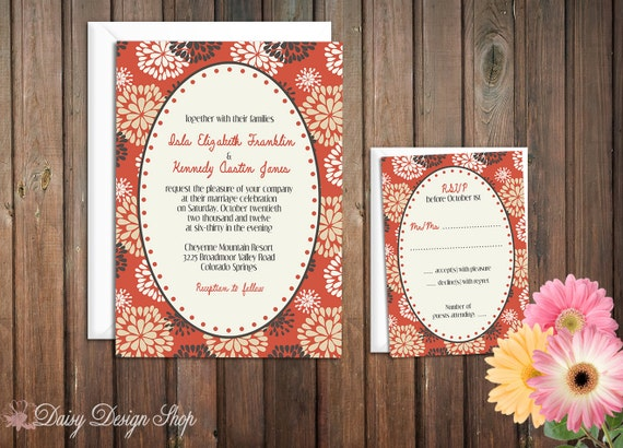 Wedding Invitation - Floral Abstracts Sketch in Red Gray and Sand - Invitation and RSVP Card with Envelopes