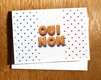 Unique French Language CARD, Oui, Non, Photo Card. French Flag Card, French Words, Yes, No, Quirky French Card, Original French Word Photo
