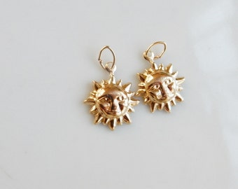 2 pcs 14K gold filled, sun charm
