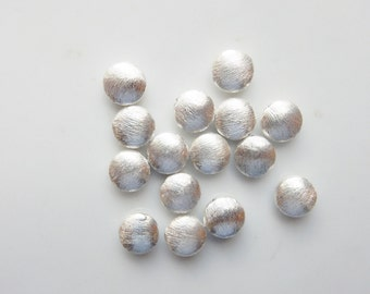 6pcs 8mm Sterling silver brushed puffy spacer beads