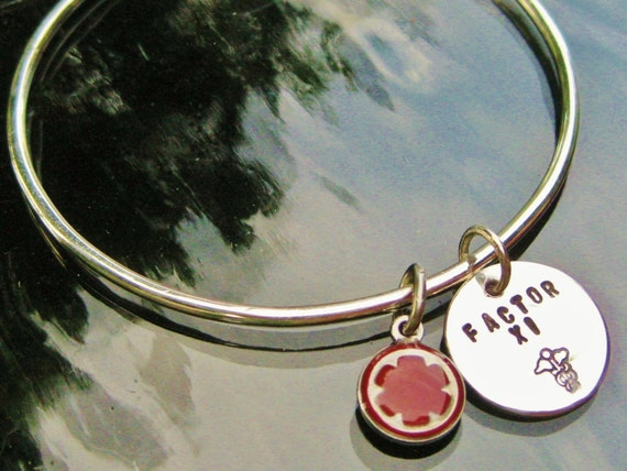 Medical Jewelry Sterling Silver Bangle Bracelet & Personalized Charm With Colored Accent Charm