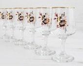 Vintage Drinking Glasses - Flower Rose Gold pink Large Glassware Kitchenware Barware Collection