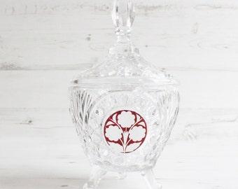 Vintage flower trinket dish  -  Lidded Red Glass Crystal Hofbauer Ruby Byrdes Bowl German Large Clear Dish Cut