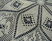 Hand crocheted lace cream tablecloth with roses and diamond stitching - READY TO SHIP