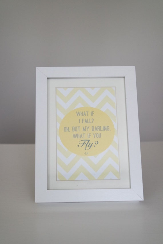 What if I fall? Oh, but my darling, what if you fly? With paint background in matted 5 x 7 Frame