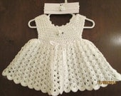 adorable crocheted baby dress with matching headband