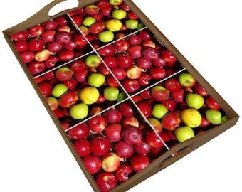 Wood tray with apple harvest ceramic tiles,  farmer's market, red, orchard fruit decor, mother's day gift for gardener cook
