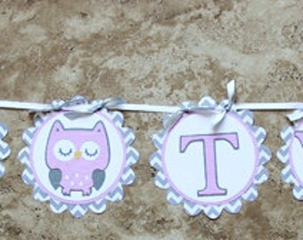 """Owl Themed Girls Birthday or Shower Banner- """"It's Twins""""- pink grey chevron- 8 characters and 2 owls"""