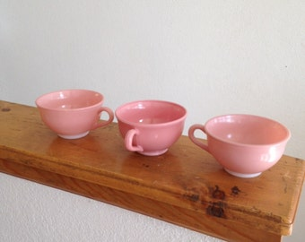 Vintage, Set of Three, Dusty Rose, Mauve, Pink, Hazel Atlas Tea Cups