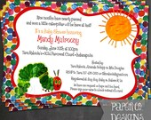Printable Hungry Caterpillar Birthday or Baby Shower Invite - Digital File ONLY
