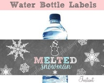 Melted Snowman Water Bottle Labels WINTER ONEDERLAND Chalkboard Instant Download Birthday Party Snowman and snowflakes