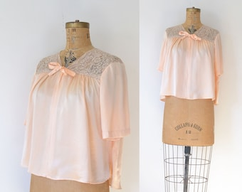 1940s Peach Bed Jacket / 40s Lingerie