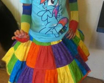 Rainbow Skirt Girls Twirl Birthday Party Outfit Cake Smash School Pageant Parade Patchwork tommichob 2 3 4 5 6 7 8 10 12 14