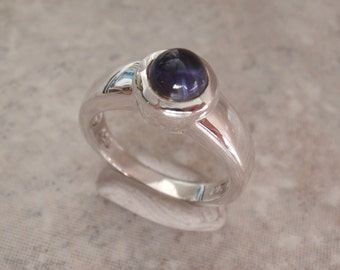 Sterling Iolite Ring Silver Blue Size 7 Vintage AT0263