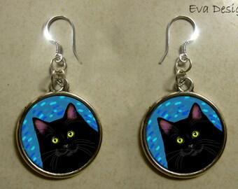 BLACK CAT blue jewelry pet art gift sterling  silver hooks dangle round charm EARRINGS