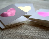 Mini Fuchsia, Pink and Gold Foil Heart Valentine Card Set
