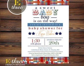 Printable Baby Boy Shower Invitation - Plaid Primary Colors Shower Invitation - Madras Baby Boy Shower Invite