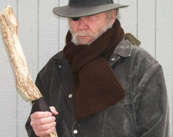 Dresden Files Inspired Hand Knitted Coffee Brown Scarf