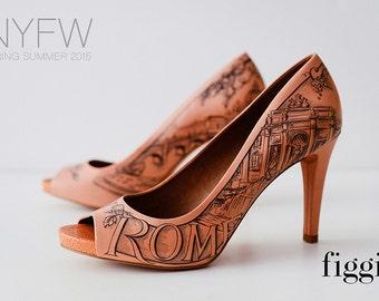 SAMPLE SALE Sz 9 Rome Hand-Painted Fashion Capital Coral Peep Toes