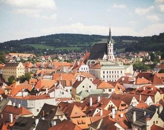 Český Krumlov - 8x10 Fine Art Photograph, Czech Republic, Church, Village, European Travel Photography, Wall Art