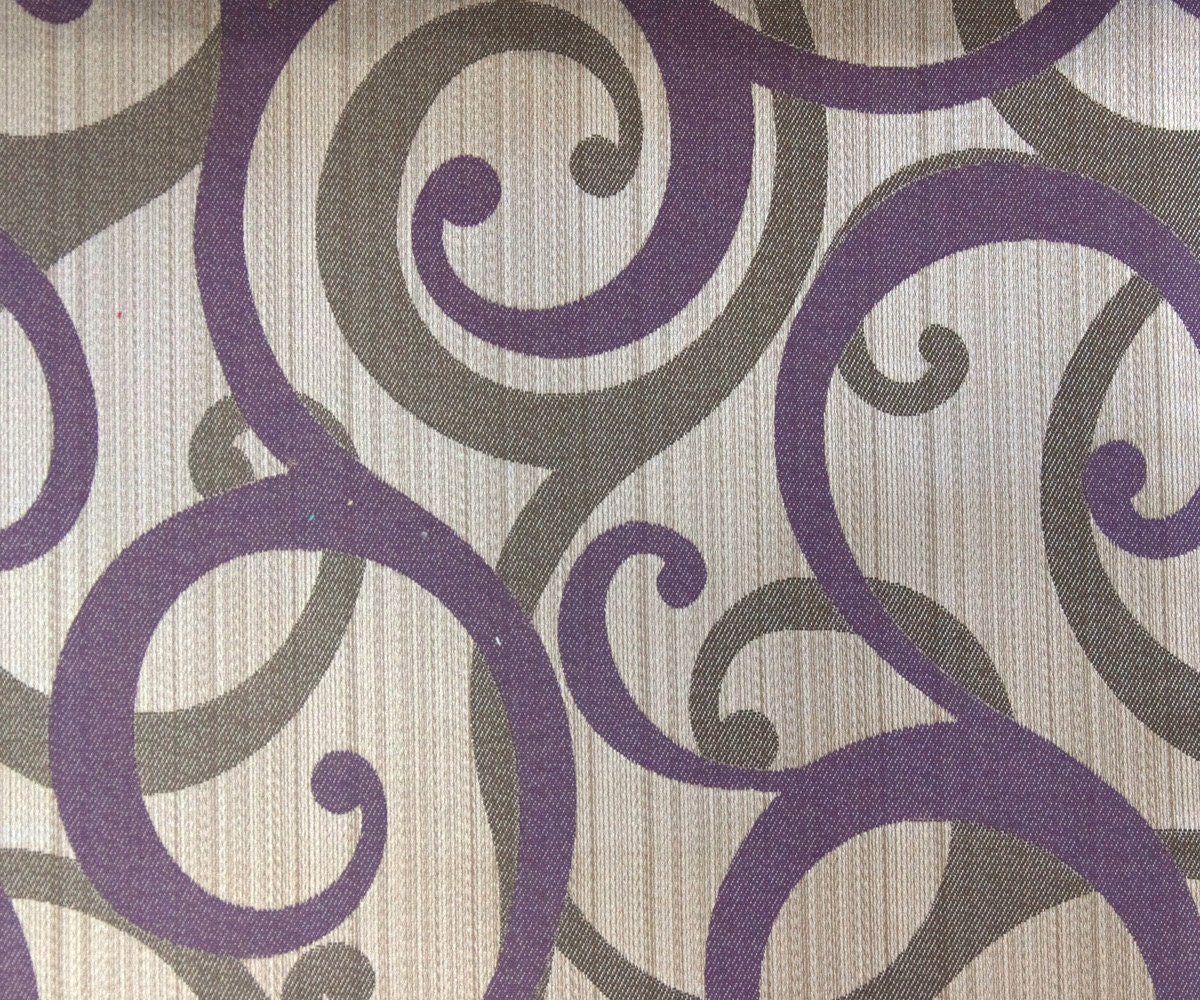 Purple Scrolls Fabric By Yard Purple Curtain Fabric Upholstery