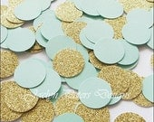 Mint Green And Gold Glitter Party Confetti, Cake Table Decor, Wedding Supply, Bridal Shower Scatter, Birthdays, Sweet 16 Party, 200 Piece
