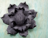 Magnolia Pottery Flower 7 inches Black Clay Wall Hanging