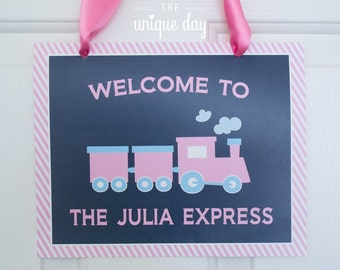 Train Party Sign - Welcome Sign - Printable - Train Birthday Party - Custom - Personalized // TRAG-04