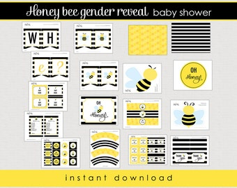 Bumble Bee gender reveal baby shower Package - Printable baby shower - Instant Download  // BEE-01
