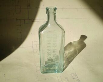Antique Furst McNess Co. Apothecary or Medicine Bottle - Aqua Glass - Freeport, Illinois