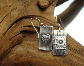 Fine Silver Rectangle Earrings - PMC - Artisan Earrings - .999 Silver -  Patterned Rectangles