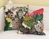 Pair of Schumacher Chiang Mai Dragon in Alabaster Designer Pillow Covers