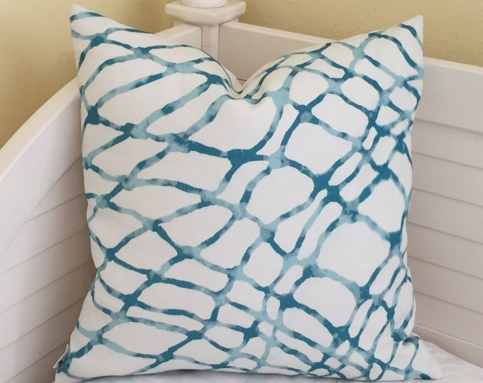 Kravet Waterpolo in Turquoise Lagoon (on both sides) Linen Designer Pillow Cover - Square, Euro, Lumbar and Body Pillow Sizes