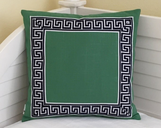 Malachite Green Linen with Navy and White Greek Key Trim  Designer Pillow Cover - Other Trim Colors Available - Square and Euro Sizes