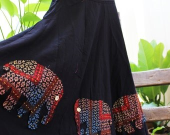 Extra Wide Black Cotton Skirt with Stitched Cotton Elephants RRE0401-15