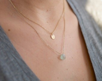 Small Aquamarine Necklace/Gift for her/ Bridesmaids jewelry/14kt Gold Layered Necklace/Minimalist Jewelry