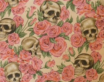 Pink Roses and Skulls Print Pure Cotton Fabric from Alexander Henry---One Yard