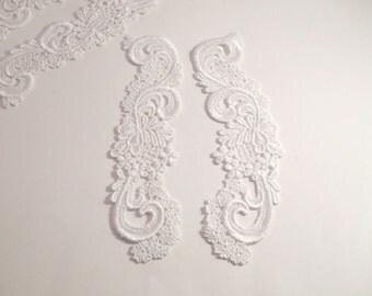 White Venise Lace Floral Appliques--One Pair