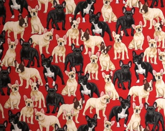 Cute French Bulldogs on Red Print Pure Cotton Fabric--One Yard