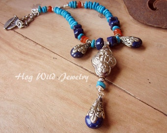 Nepal Focal Bead Lapis Carnelian Turquoise Sterling Silver Necklace