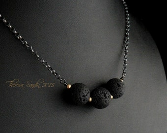 Black Lava and Goldfilled Beads Sterling Silver Necklace
