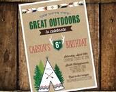 Camping Birthday Invitation, Camping Party, Teepee Invitation- Printable