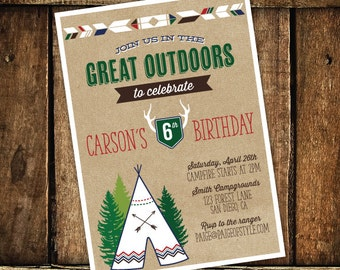 Camping Birthday Invitation, Camping Party, Teepee Invitation- Printable