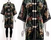 Vtg 70s Black Silk Silver Gold Brocade Asian Jacket Chinese Overcoat  Retro Minimalist DUSTER Landscape Scenery Mountains Trees Medium Large