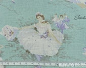 Vintage ballet dance girl - 1 yard -3 colors - cotton linen - ballet -  Use coupon code: 5YEAR can get 20% off