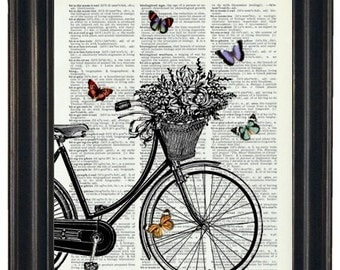 BOGO 1/2 OFF  Dictionary Art Print Bicycle Basket of Flowers and Butterflies HHP Original with Signature Butterflies