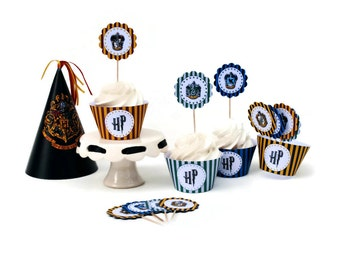 DIY Printable Harry Potter Inspired Cupcake Party Kit (Toppers, Wrappers & Hat) PDF File