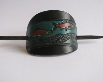 Leather Hair Barrette...large size .