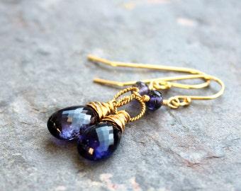 Gold Iolite Earrings Dangle Drop Blue Gemstone Earrings 14k GF Gold Fill
